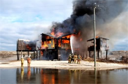 Firefighters Train at a Beach House Live Burn