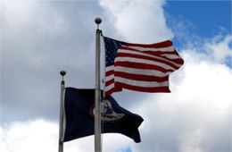 United States and Virginia Flags