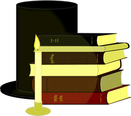 Candle, Books, and Hat