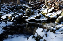 Snowy Pool in a Mountain Stream